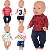 K.T.Fancy 5 Sets 16-18 Inch Doll Clothes Outfits Casual Wear for 43cm New Born Baby Doll Clothes, 15 Inch Baby Doll Clothes