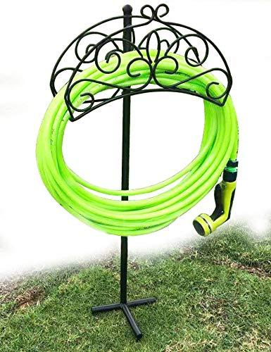 TREEZITEK dévidoir de tuyau sur pied support de tuyau de jardin en métal décoratif solide attrayant support de rangement de tuyau pour cour