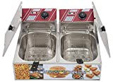 Andrew james Double Deep Fat Fryer 8+8 Liters Auto Cut Commercial Stainless Steel - 1 Year Warranty