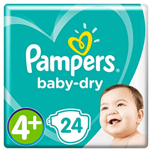 Pampers - Pañales Baby-Dry talla 4+ (9-18 kg), hasta 12 horas, bien seco y con doble barrera antigoteo, 24 pañales (paquete pequeño)