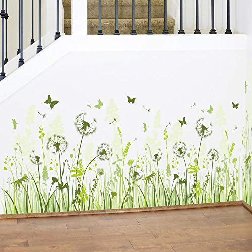Wall Stickers for Bedrooms for Girls, Art Decal Quotes DIY Self-Adhesive Dandelion Green Grass Window Decoration Removable Wallpaper 3D Vinyl for Home Living Room Bathroom Kitchen Decor Mural Amaone