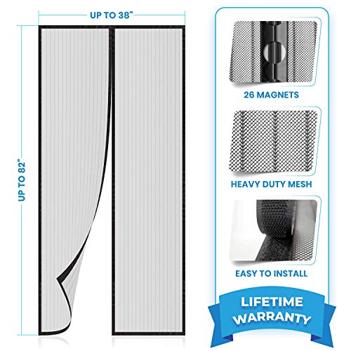 Flux Phenom Reinforced Magnetic Screen Door - Fits Doors up to 38 x 82 Inches - Bug, Fly, and...