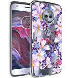 BAISRKE Moto X4 Case, Moto X4 Case with Flowers Slim Shockproof Clear Floral Pattern Soft Flexible TPU Back Cove for Motorola Moto X4 (2017) [Purple]
