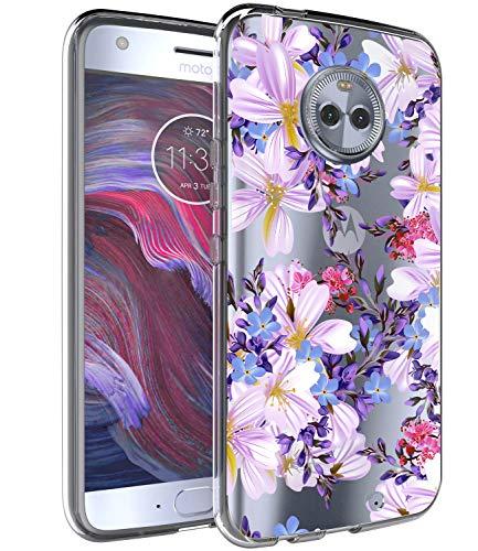 BAISRKE Moto X4 Case, Moto X4 Case with Flowers Slim Shockproof Clear Floral Pattern Soft Flexible TPU Back Cove for Motorola Moto X4 (2017) [Purple]