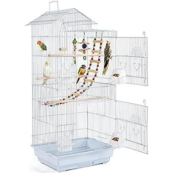 Yaheetech Cage à Oiseaux avec Poignée Portable Oiseaux Interieur avec 3 Jouets 4 Mangeoires 3 Perchoirs 1 Swing 46 x 35,5 x 99 cm Blanc
