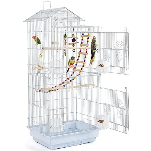 Yaheetech Jaula de Pájaros Jaula de Aves Canarios 46 x 35,5 x 99 cm Jaula para Mascota Blanco