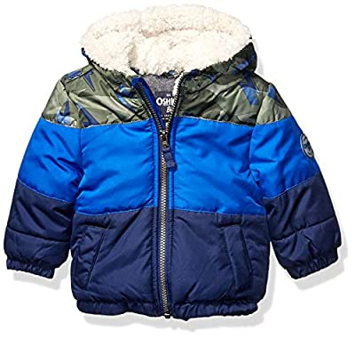 Osh Kosh Baby Boys Heavyweight Winter Jacket W/Sherpa Lining, Camo Color Block Trio, 12Mo