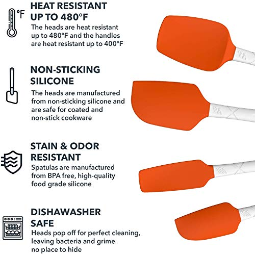 M KITCHEN WORLD Heat Resistant Silicone Spatulas Set - Rubber Spatula Kitchen Utensils Non-Stick for Cooking, Baking and Mixing - Ergonomic, Dishwasher Safe Bakeware Set of 4, Orange