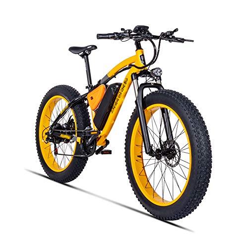 26 Zoll E-Bike, Mountainbike 500W Mittelmotor und 4.0 Fetter Reifen 48V 17Ah Lithium Ionen Akku Alu Urban Premium Rahmen Herren Trekking und City-E-Bike,Gelb,UK