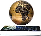 "Fashion World Geographic Globes, Magnetic Floating Auto-Rotation Rotating 6"" Gold Globe,with Book Style Platform."
