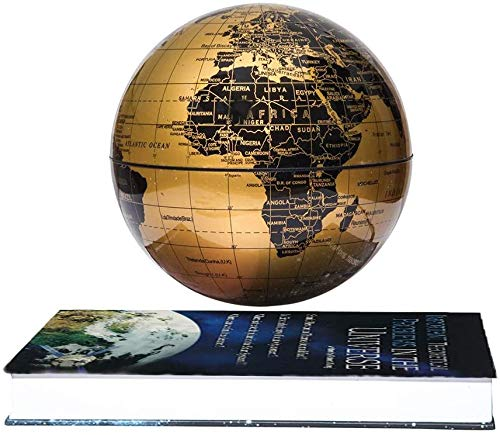 """Fashion World Geographic Globes, Magnetic Floating Auto-Rotation Rotating 6"""" Gold Globe,with Book Style Platform."""