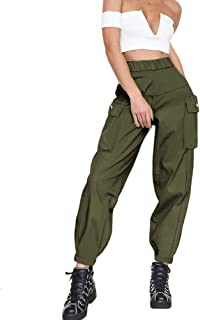 Women's Cargo Pants, Casual Outdoor Solid Color Elastic High Waisted Baggy Jogger Workout Pants with Pockets