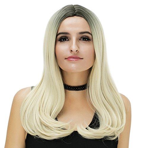 Perruque femme blonde noire longue - Pour Halloween et cosplay - avec bonnet