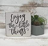 qidushop Enjoy The Little Things Selbstgemachtes Schild, bemalt, inspirierende Heimdekoration,...