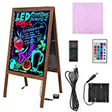 Rustic A-Frame Chalk Board, Large 39.4 x 20.5 Inch LED Message Writing Board Double Glass Sides Neon Illuminated Erasable Neon Sign Sandwich Board Menu Display for Restaurant Wedding