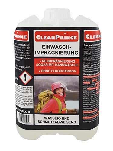 CleanPrince 2 Liter Einwaschimprägnierung | im Kanister Waterproofer Outdoorbekleidung Imprägniermittel Einwasch-Imprägnierung für Outdoorbekleidung und Funktionskleidung Protection Imprägnierung einwaschbare Imprägnierung Wash wasser- und schmutzabweisend Re-Imprägnierung sogar mit Handwäsche ohne Fluorcarbon auch bei Handwäsche