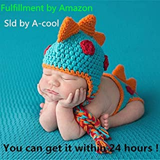 A-cool Crocheted Baby Boy Dinosaur Outfit Newborn Photography Props Handmade Knitted Photo Prop Infant accessories (1-12 Months)