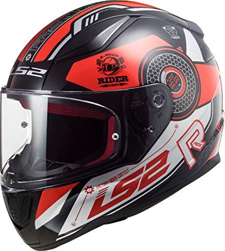 LS2 Rapid Stratus Casco de Moto, Unisex-Adult, Negro Rojo Gris, L
