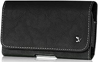 Asus PadFone X Mini Genuine Bold Leather Case Pouch Metal Clip with Belt Loop Hidden Magnetic Closure Black