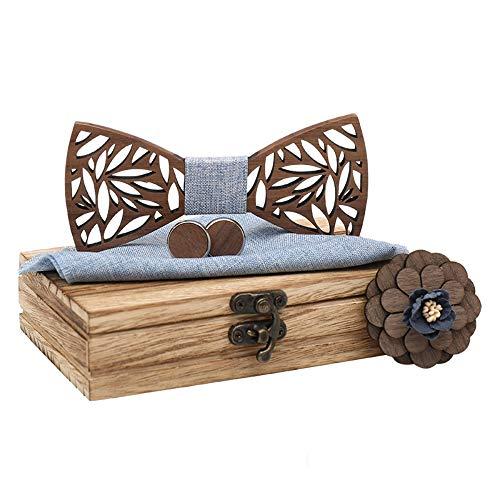 Herren Holz High-End ManschettenknöPfe Corsage Fliege Box Set Holz Handgefertigte Schleife (A5)