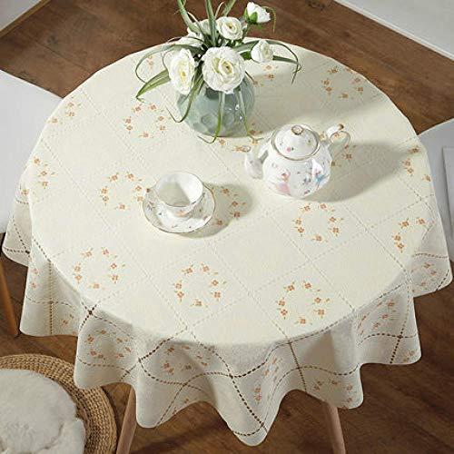 Traann Plastic tafelkleed schoonmaken, Round Wipe Clean, vinyl/kunststof tafelkleed effen linnen textuur Home Decoration 80
