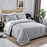 HOdo Grey Queen Comforter Set, Cationic Dyeing with Pillow Sham(Queen, 88x88 inches, 3 Pieces)