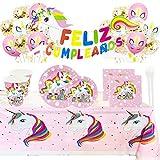 Kit de Artículos para Fiesta Cumpleaños Infantil Unicornio - Vajilla Desechable...
