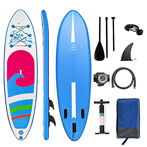 ALIFUN SUP Inflatable Stand Up Paddle Board 10'5'×32'×6' Ultra-Light Standing Boat 6 Inches Thickness with Non-Slip Deck - Adjustable Paddle - Pump - Backpack - Leash