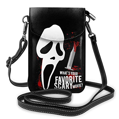 NuoJiaGe Bolso bandolera de cuero para teléfono, cartera para mujer, bolso pequeño, mini bandolera Scream Horror Movie