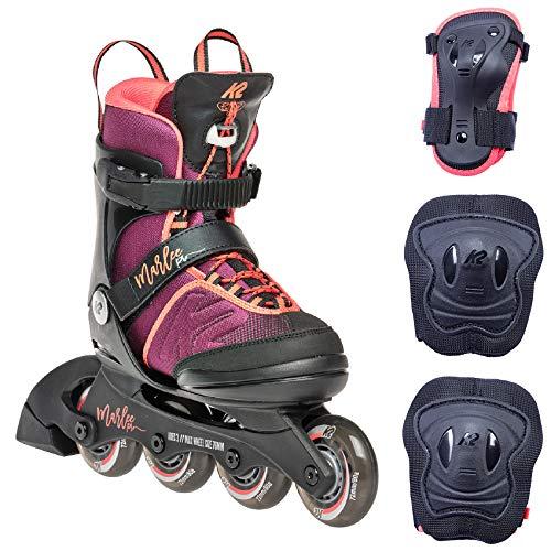 K2 Skates Mädchen Inline Skate Marlee Pro PACK  — purple - coral — S (EU: 29-34 / UK: 10-1 / US: 11-2) — 30E0504