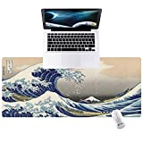 Hunthawk Large Desk Mat, Kanagawa Surfer Mouse Pad, Desktop Home Office School Cute Decor Big Extended Pretty Desk Pad for Gaming Laptop Computer Accessories 35.4'x15.7'x0.1'
