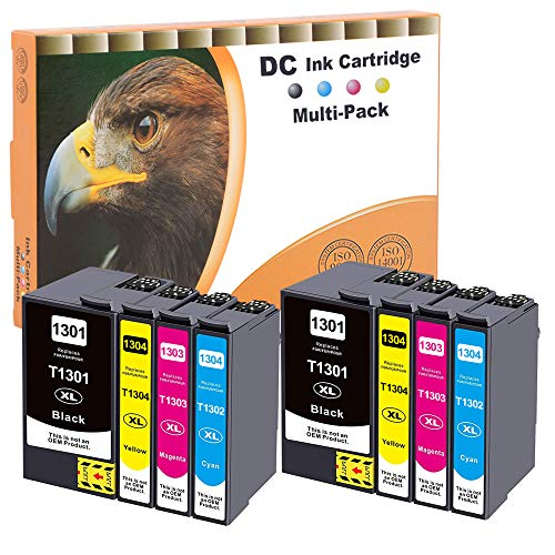 D&C 8x Cartuchos de tinta compatibles con Epson T1301, T1302, T1303, T1304, Epson Stylus, BX-525WD, BX-535WD, BX-625FWD, BX-630FW, BX-635FWD, BX-925FWD, BX-935FWD, SX-525WD, SX-535WD, WorkForce 630