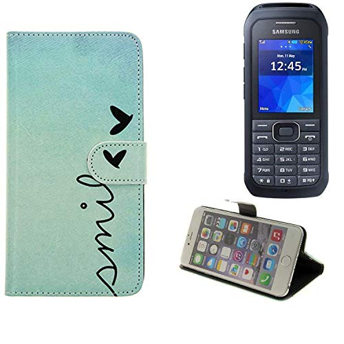 K-S-Trade® Schutzhülle Für Samsung Xcover 550 Hülle Wallet Case Flip Cover Tasche Bookstyle Etui Handyhülle ''Smile'' Türkis Standfunktion Kameraschutz (1Stk)