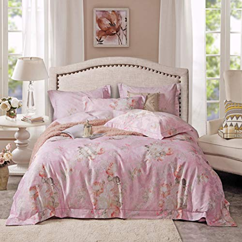 DUIPENGFEI High-End Autumn And Winter Pure Cotton Thick Quilt Cover Four-Piece Cotton Full Set, Duvet Cover, Pink Flower, King Size Duvet Cover 220 * 240Cm