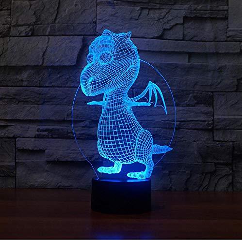 Mesa creativa Lámpara 3D Luz nocturna Dinosaurio Acrílico Ambiente Lámpara 3D Visual...