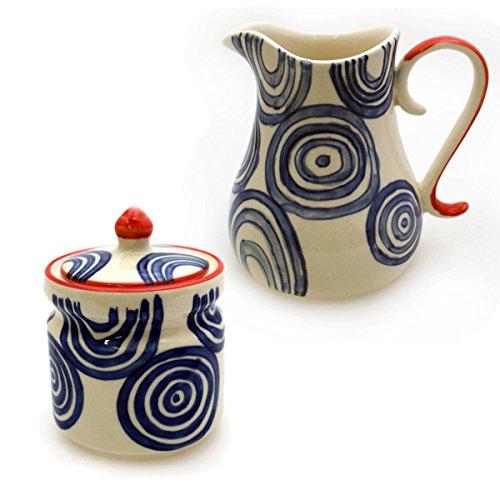 Gall&Zick, servizio da caffè, composto da zuccheriera e bricco per il latte, in ceramica, dipinto a mano, perfetto come idea regalo Kreise