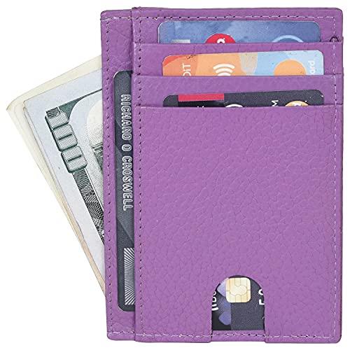 Portlee Genuine Leather Stylish Slim ATM Credit ID Card Holder Money Wallet for Men Women, Purple