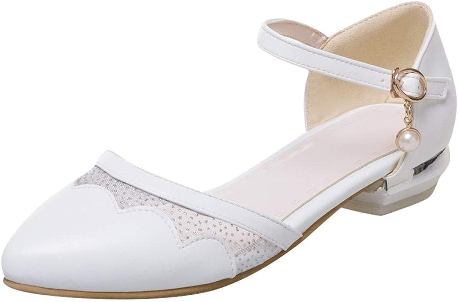 Ghssheh Women's Sweet Mesh Low Heel Ankle Strap Buckle Pump shoes White 8 M US