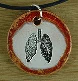Echtes Kunsthandwerk: Schöner Keramik Anhänger 'Lungen'; Rauchen, Medizin, Studium, Uni, Student, Unterricht, Biologie, Lehrer