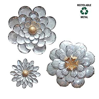 Galvanized Flowers Wall Décor Set of 3 Metal Flower Wall Art-by GIFTME 5