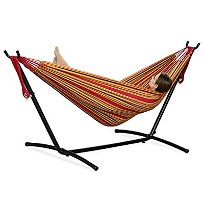 PNAEUT 2-Person Hammock with Space Saving Steel Stand Garden Yard Outdoor 450lb Capacity Double Hammocks and Portable Carrying Bag (Red)