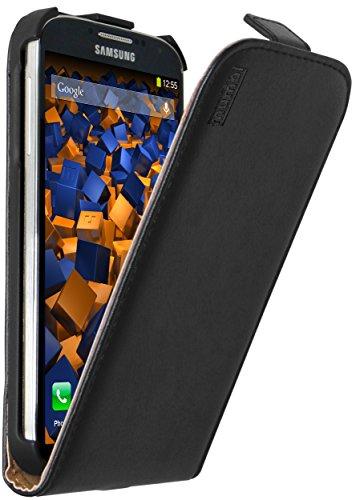 mumbi Echt Leder Flip Case kompatibel mit Samsung Galaxy S4 Hülle Leder Tasche Case Wallet, schwarz