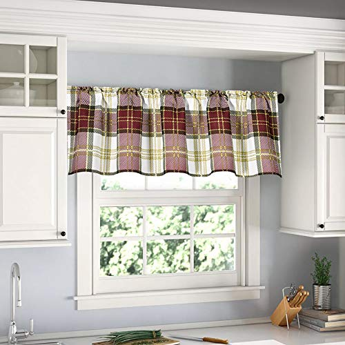 DUALIFE Christmas Plaid Valance for Windows, Waterproof Polyester, Buffalo Curtain Valance for Farmhouse Living Room Blackout Check Valance 52x16 Red One Panel