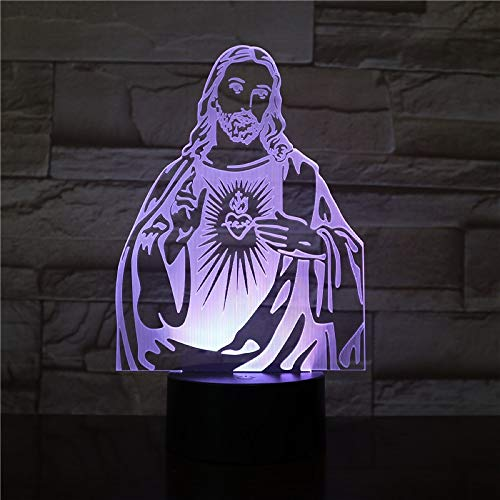 Luz De La Noche Cristiano Jesús 3D, Led Lámpara De Mesa De Cabecera