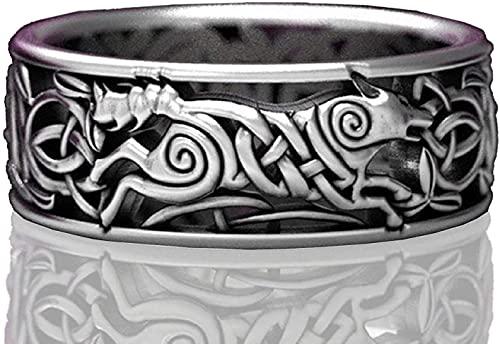 Anillo de lobo para hombres, anillos de tótem de lobo vintage, anillo de la línea cruzada, anillo de lobo de Norse vikingo, anillos de sello de lobo, anillo de amuleto, anillo de punk, anillo de anima