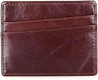 LDUNDUN-BAG, 2019 Leather Card Package RFID Card Package Leather Coin Purse RFID Coin Purse Simple Small Card Package Men's Wallet (Color : Brown, Size : S)