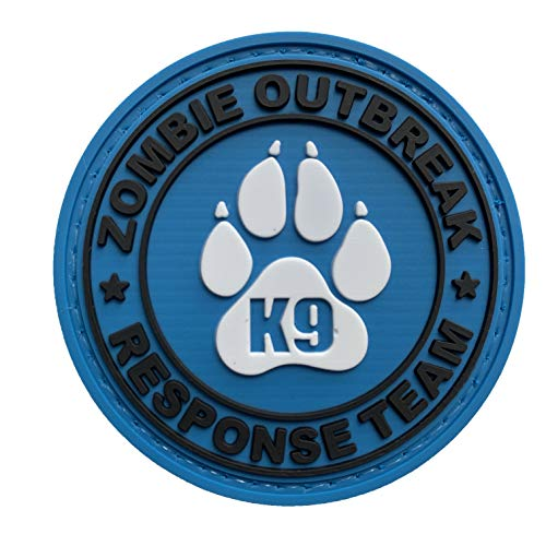 Zombie Outbreak Response Team K9 Paw Canine Unit Tactical PVC Patch Combat Badge with Hook Fastener Backing (Blue)