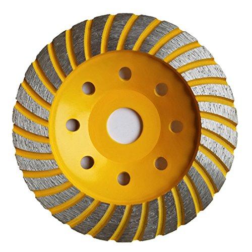 APLUS Diamant Schleiftopf Topfschleifer Topfscheibe doppelreihig 125mm x 22,23mm/22mm für Beton Stein Mauerwerk (125mm-Gelb)