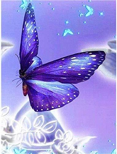 DIY 5D Kits de pintura de diamantes por números Kit de bordado de diamantes de taladro redondo completo Decoración de la pared del hogar Mariposa púrpura por 40x50cm