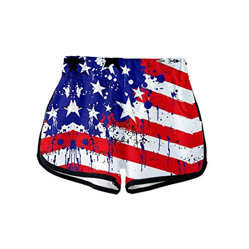 URVIP Damen Flagge der USA Shorts 3D Druck Kurze Hose Badehose Freizeithose Jogginghose Sporthose Trainingshose Jogger Sweatpants Flagge-12 XL